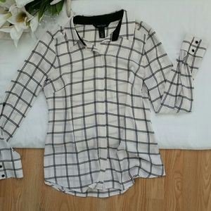 *White And Black Plaid Chiffon Long Sleeve Shirt*